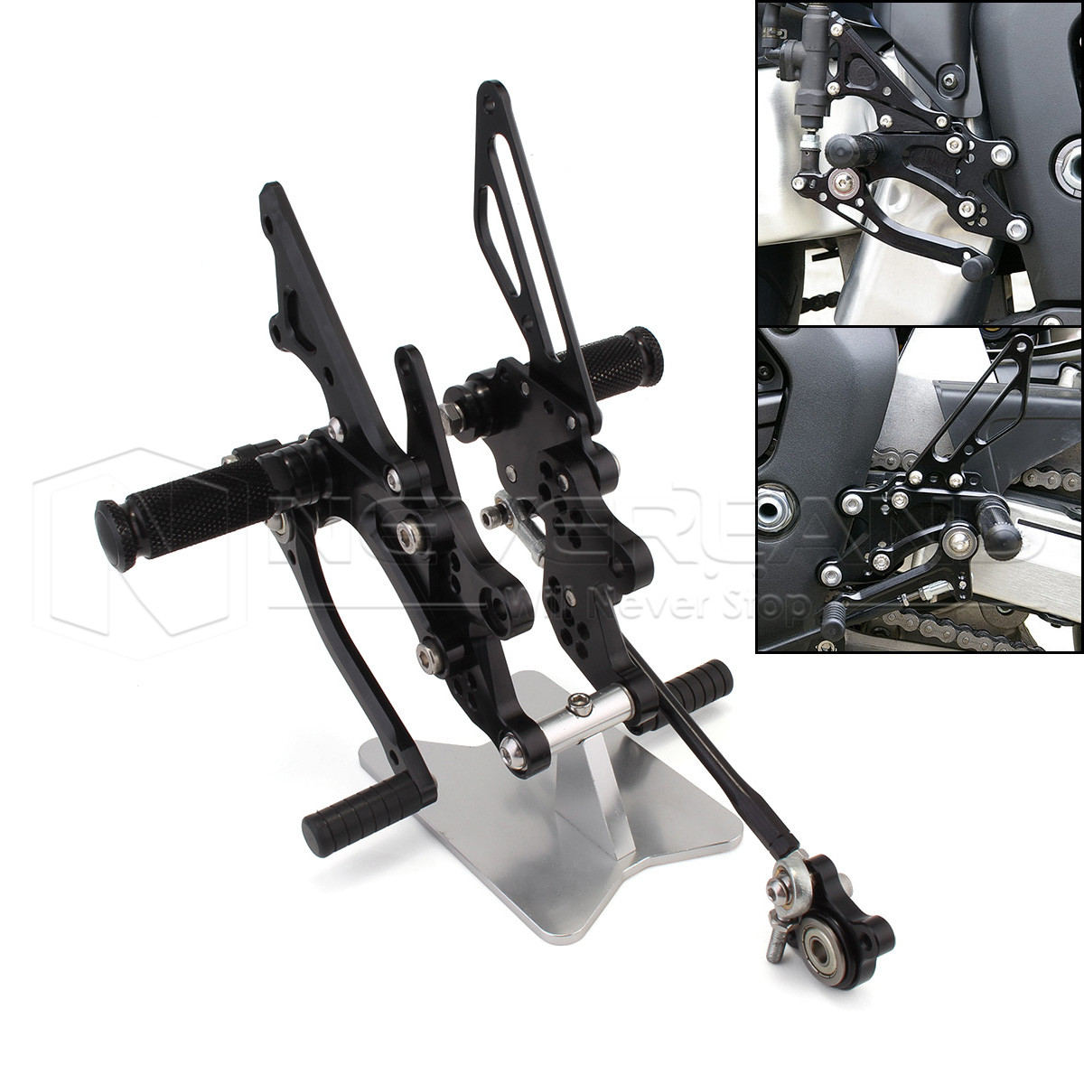 Black Motorcycle CNC Rearsets Kit Motorbike Foot pegs For Honda CBR1000RR 2004 2005 2006 2007 Rear Sets D20 arashi motorcycle parts radiator grille protective cover grill guard protector for 2003 2004 2005 2006 honda cbr600rr cbr 600 rr