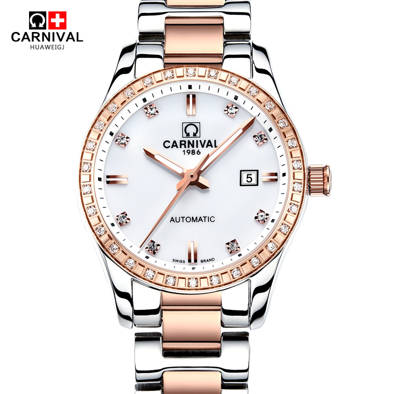 2016Carnival rhinestone dress women hot automatic mechanical famous fashion brand watch ladies vintage luminous sapphire watches стоимость