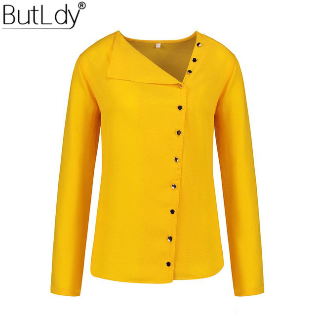 Irregular Skew Collar Button Blouse Shirt Women Autumn Long Sleeve Yellow  Casual Womens Tops and Blouses White Ladies Shirt 68c033b6fe08