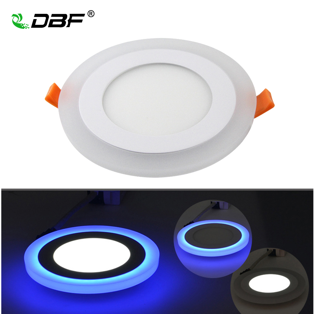 [DBF] Panel LED 6W 9W 16W 3 modelos blanco + azul, Panel de luz LED, doble Color, foco de techo, iluminación redonda de interior