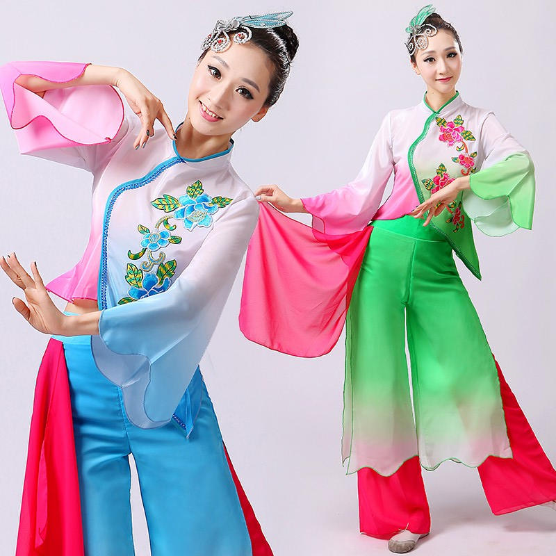 Chinese style hanfu yangko dance clothes squares fan national stage  costume