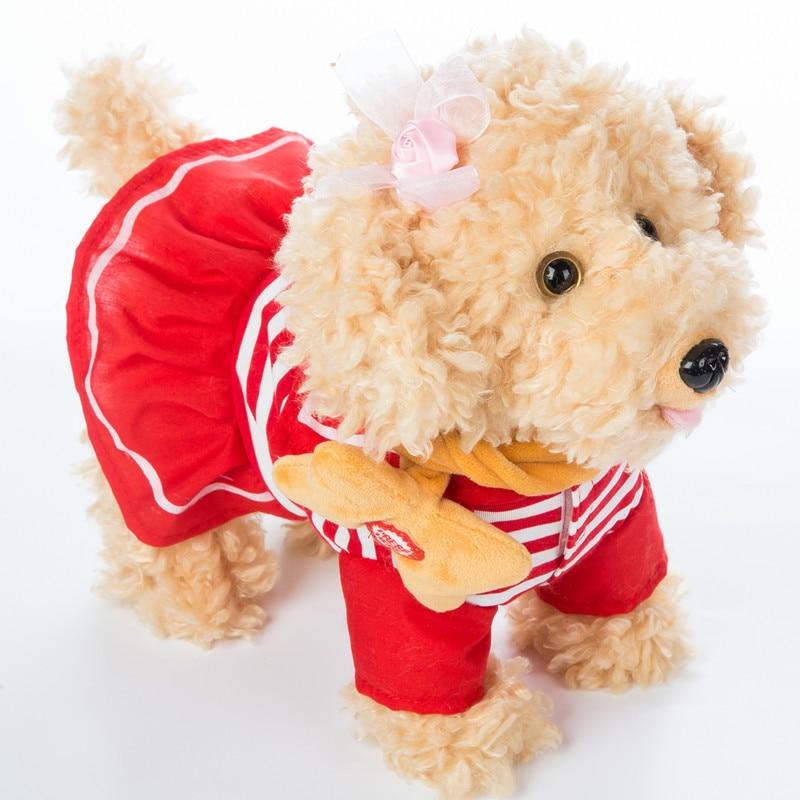 Robot Dog Sound Control Electronic Dog Interactive Plush Teddy Barking Walking Music Dog Leash Toys For Children Birthday Gifts