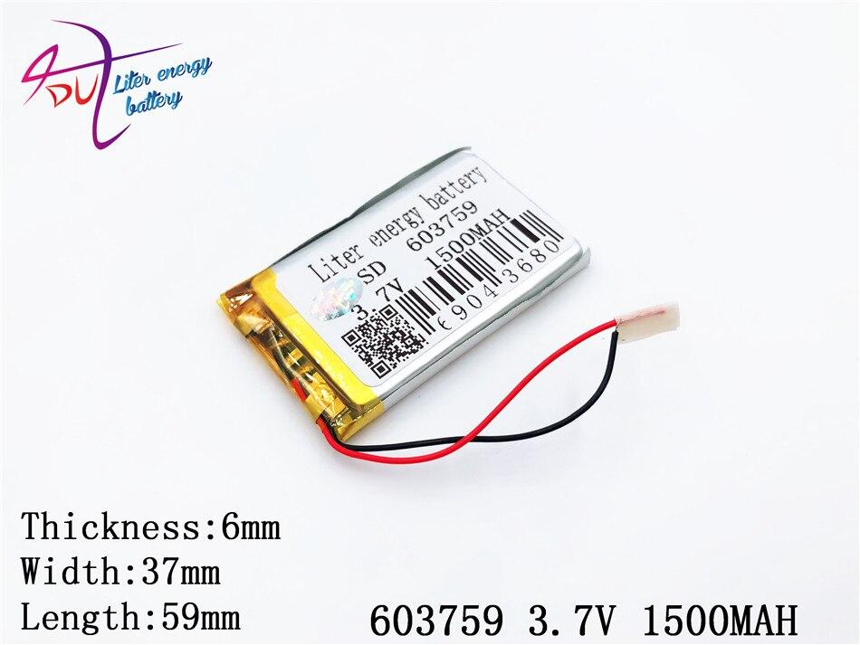 Unterhaltungselektronik Liter Energie Batterie 3,7 V Lithium-batterie 063759 603759 1500 Mah Mp4 Mp5 Buch Spielzeug Batterie 37 V Batterie