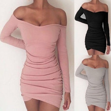 Sexy and Club Long Sleeve Solid Body Con Pink Female Dresses European Style Sheath Slash Neck Mini Woman Dresses spring and autumn velvet solid sexy v neck split party woman dresses european style empire long sleeve velvet mini dresses 90s