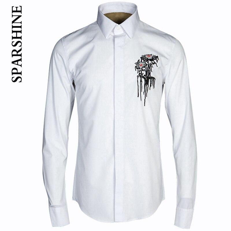 Luxury Brand Men Clothes Embroidery Casual Men Shirts Long Sleeve Slim Fit Man Shirts High Quality Designer Mens Dress Shirts