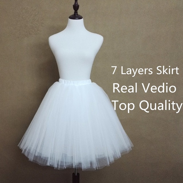 7 Layers Knee-length Tulle Skirt Summer Style Skirts Fashion Women Adult Tulle  Tutu Organza 36a14ca0f8f8