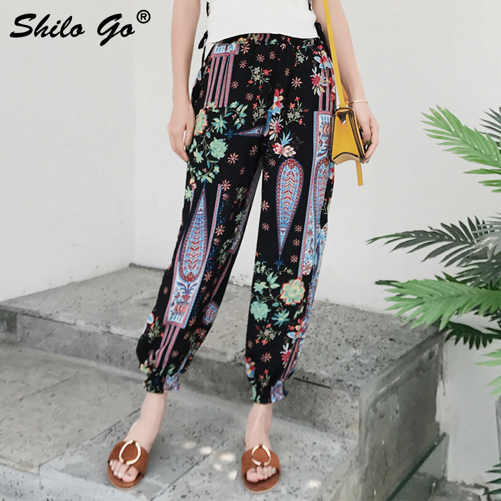 Floral Print Harem   Pants     Capri   High Split Loose Casual   Pants   Women Beach Summer Trousers High Waist   Pants   2019 Female