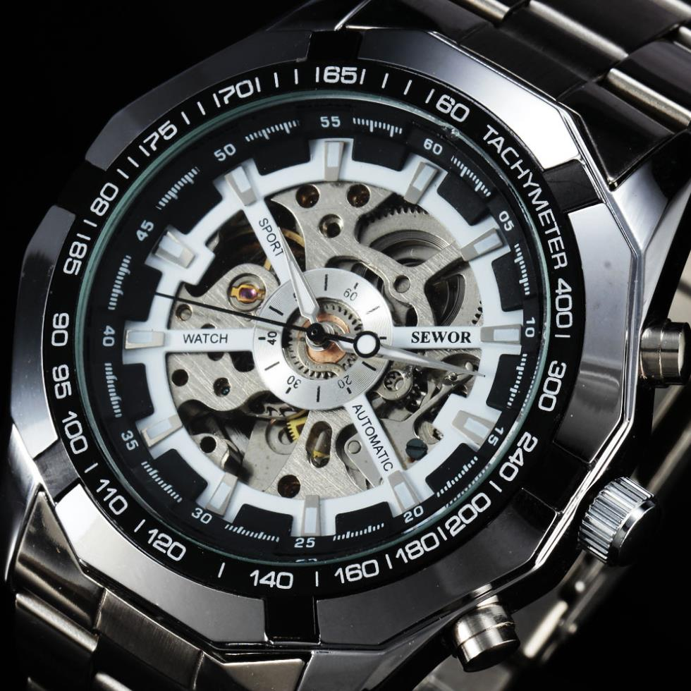 2016 Top Brand SEWOR Men's Sport Stainless Steel Strap Luxury Watches Tachymeter Skeleton Automatic Military Mechanical Watch 2017 men s fashion top luxury brand sewor full steel sport wristwatch tachymeter skeleton automatic mechanical military watches