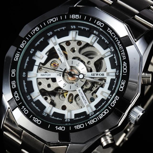 b227ec76edb 2016 Top Marca SEWOR Luxo Alça Aço Inoxidável do Esporte Dos Homens Relógios  Taquímetro Skeleton Automático