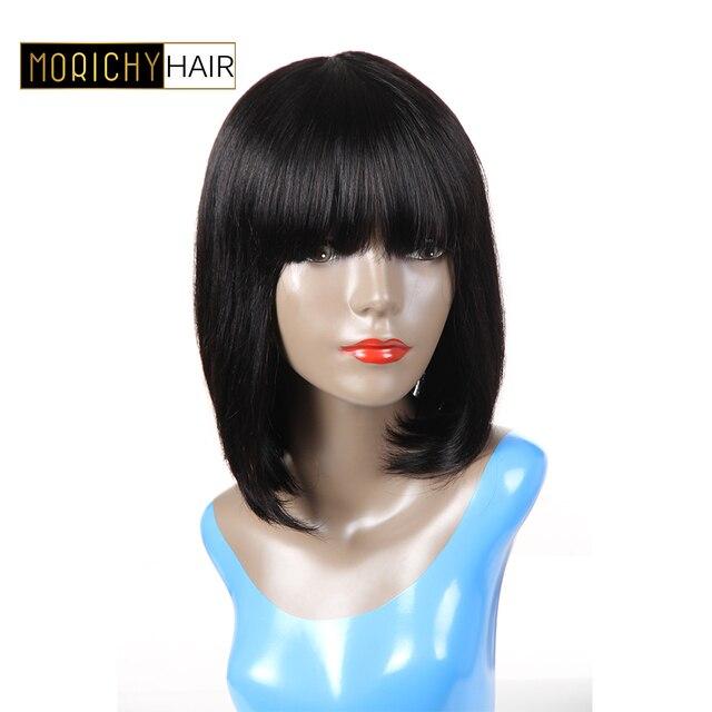 Morichy Hair Bob Wig For Black Women Brazilian Remy Hair Straight Human  Hair Wigs With Bangs Short Human Hair Bang Wig 130% dead373d1