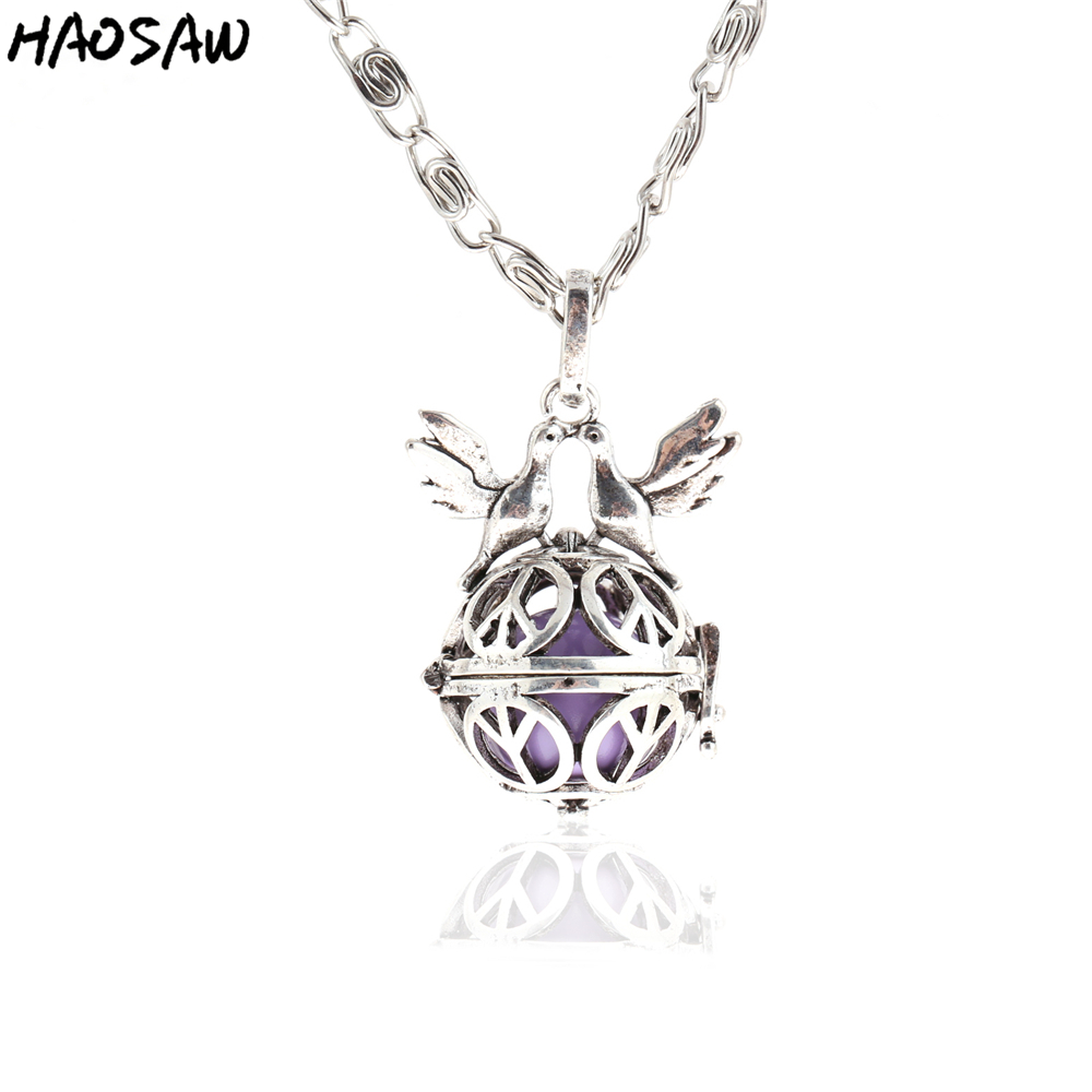 38mm Necklace Animal Hollow Cage Magic Box Bell Music Sound Choose Color Bead Fashion Pendant For Women Necklace Jewelry Making