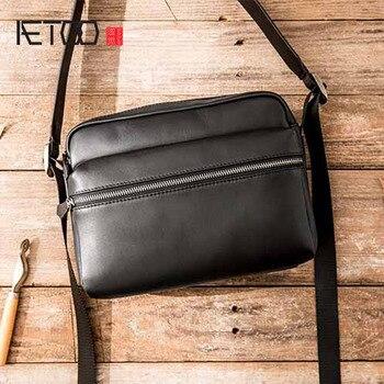 AETOO New handmade leather one-shoulder messenger bag men's casual retro men's suede leather soft leather Japanese Messenger bag цена 2017