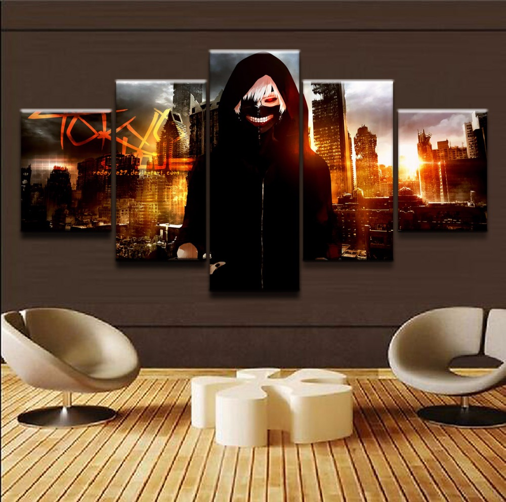 Modular Prints Poster Canvas Paintings 5 Pieces Anime Tokyo Ghoul Ken Kaneki Pictures Home Decor For Boys Room Wall Art Artworks
