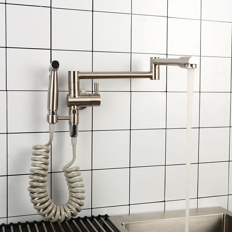 Wand Montiert Küche Wasserhahn Messing Einzigen Kalten Waschbecken Wasserhahn Mit Bidet Sprayer Matte Schwarz, gebürstet Nickel & Chrom Wasserhahn