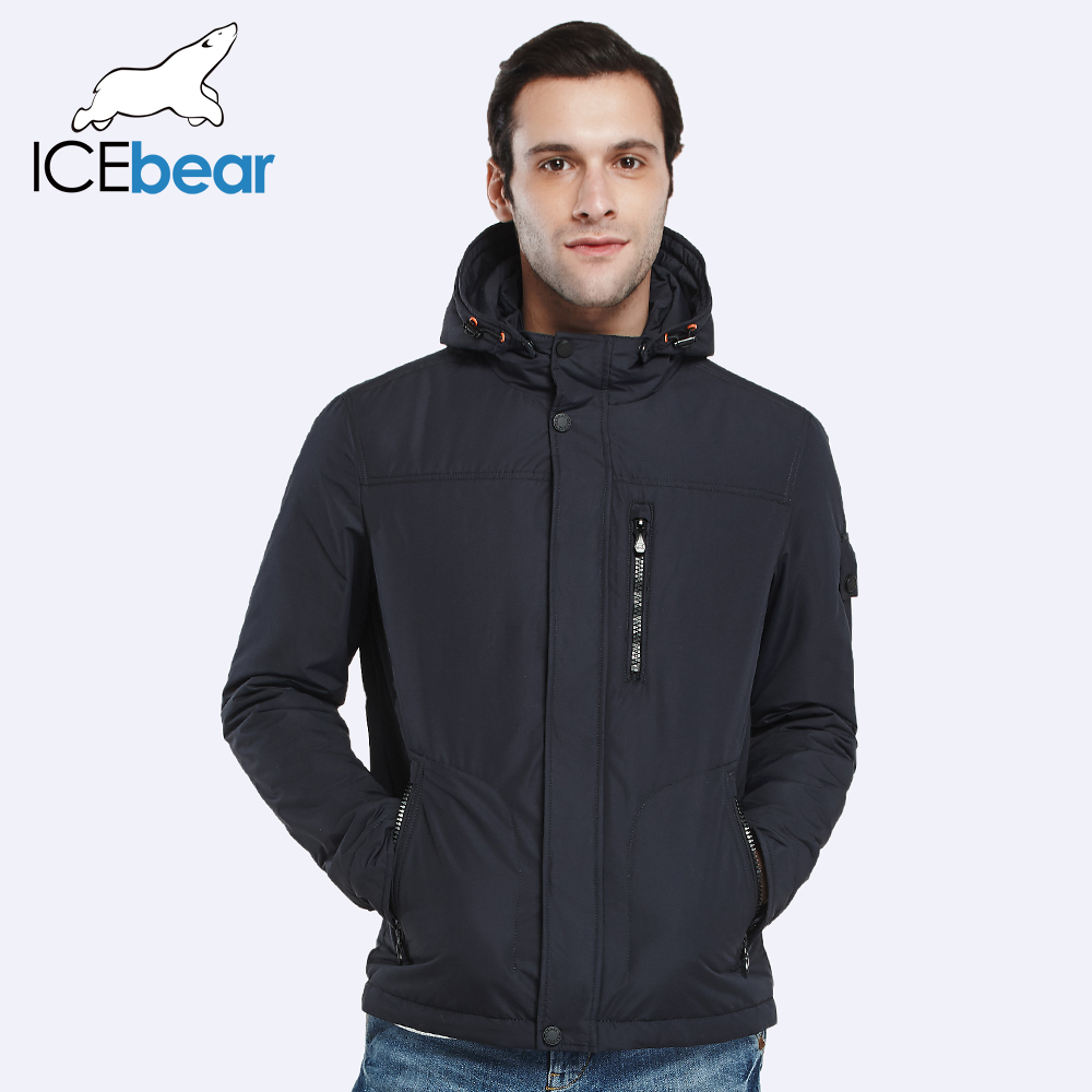 ICEbear 2017 Removable Hat Zipper Design Thin Cotton Brand Clothing Spring Autumn Men Short Coat Plus Size Jacket 17MC006D