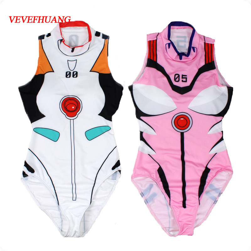 VEVEFHUANG Anime Swimsuits Cosplay Costume Swimwear Cosplay Summer Ladies Printin Female Sexy Pajamas High-fork Jumpsuit Tights