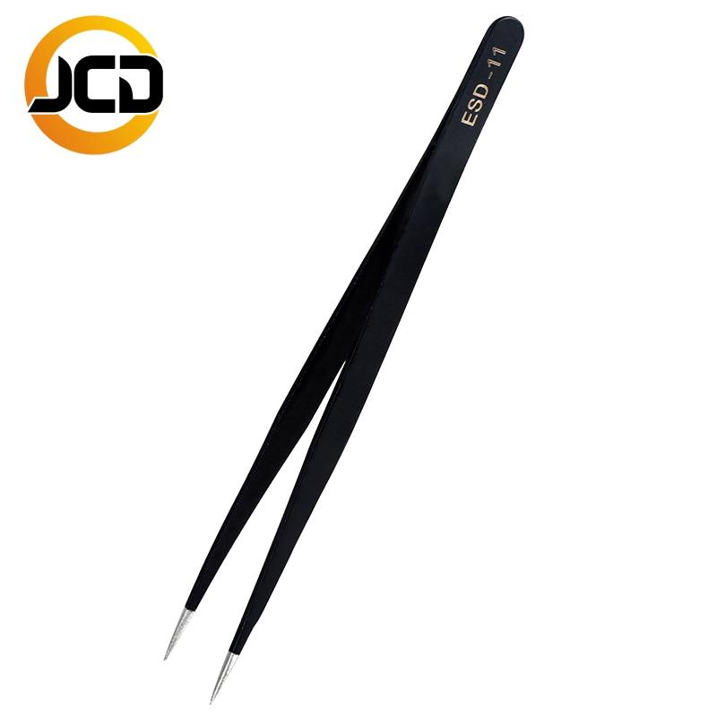 JCD Soldering Tweezers Anti-static ESD Stainless Steel Tweezers Maintenance Tools Industrial Precision Curved Straight Repair