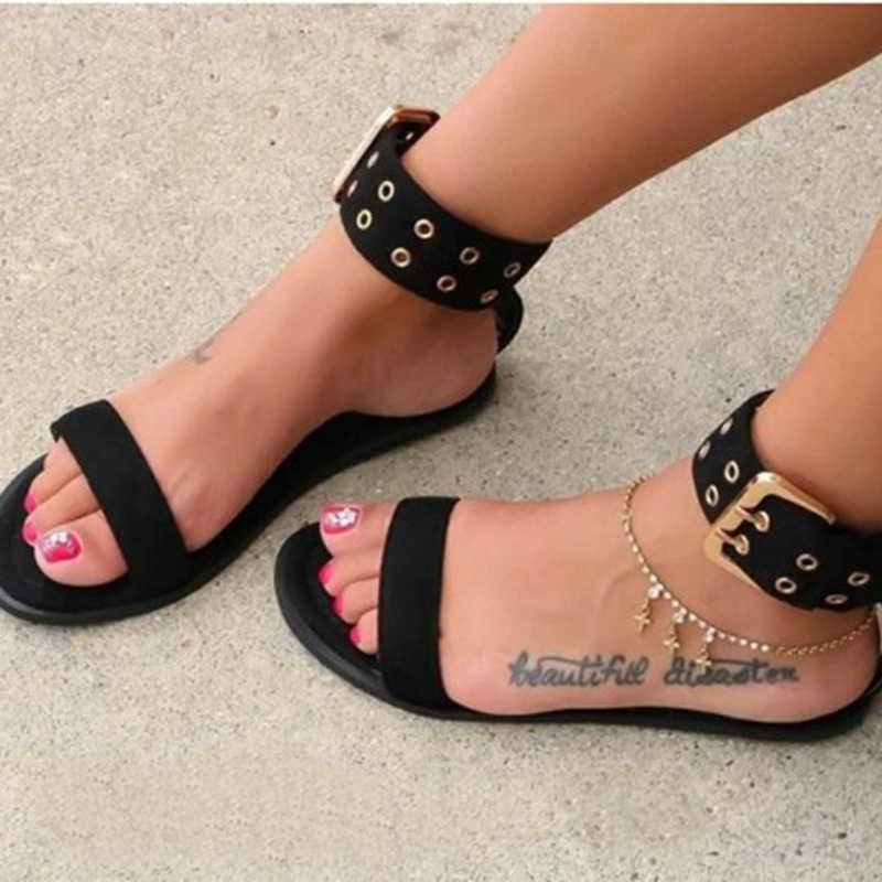 Litthing 2019 Sandalias de Mujer zapatos planos transparentes de gran tamaño zapatos claros de Mujer playa romana Sandalias Mujer