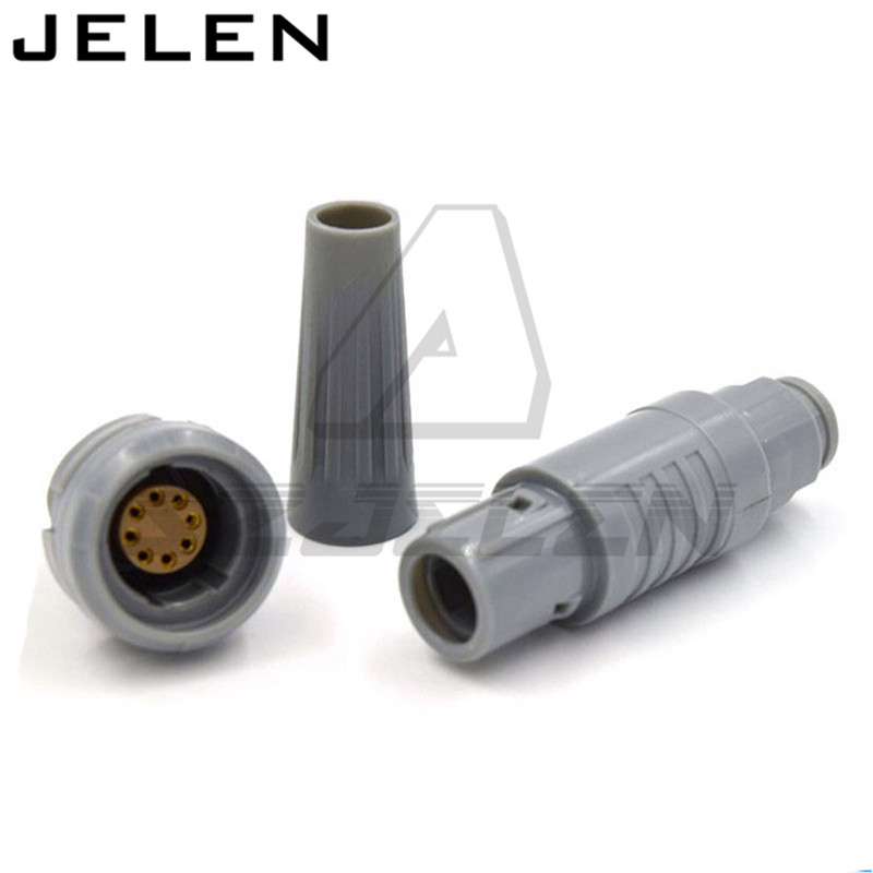 Plastic 2P CAB CKP 8 pin connector, medical connector redel 2p-serie 8 pin ,CAB.M08.GLA.CxxG CKB.M08.GLLG,Gray housing