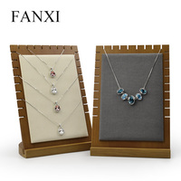 FANXI Solid wood Cream white&Dark gray Pendant necklace display stand with microfiber for showcasing jewelry Necklace Holder