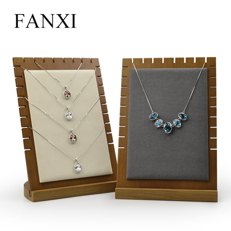 FANXI Solid Wood Cream-white&Dark Gray Pendant Necklace Display Stand With Microfiber For Showcasing Jewelry Necklace Holder