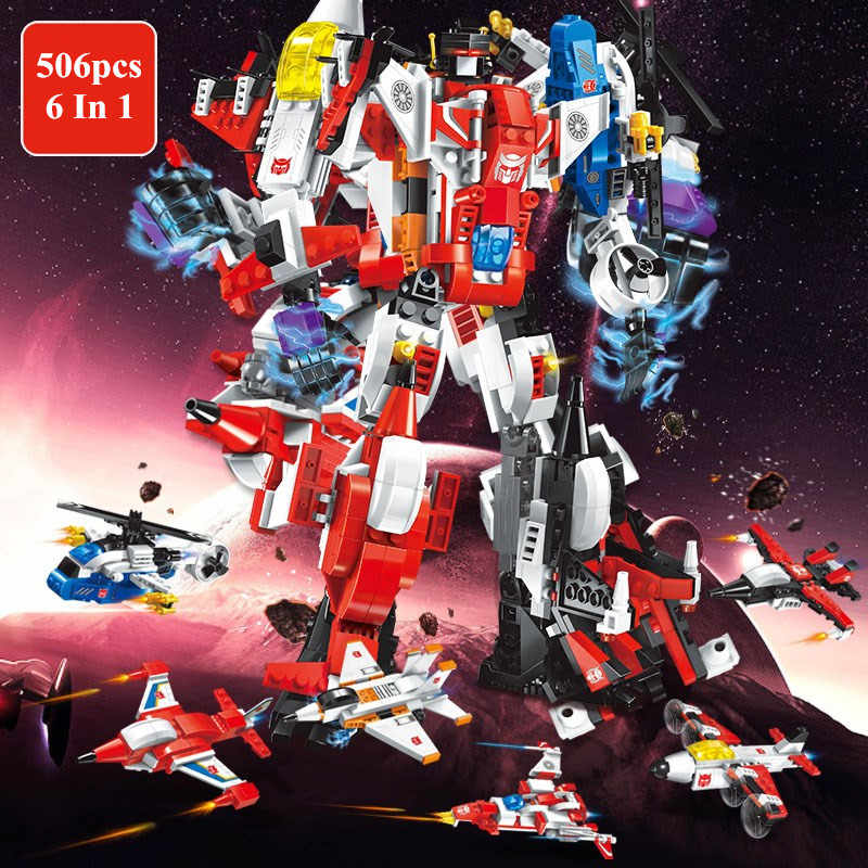 6 In 1 Legoings Mecha Robot Transform Helicopter Aircraft Plane Destroyer Hero Model Building Blocks Kit Toys Gifts