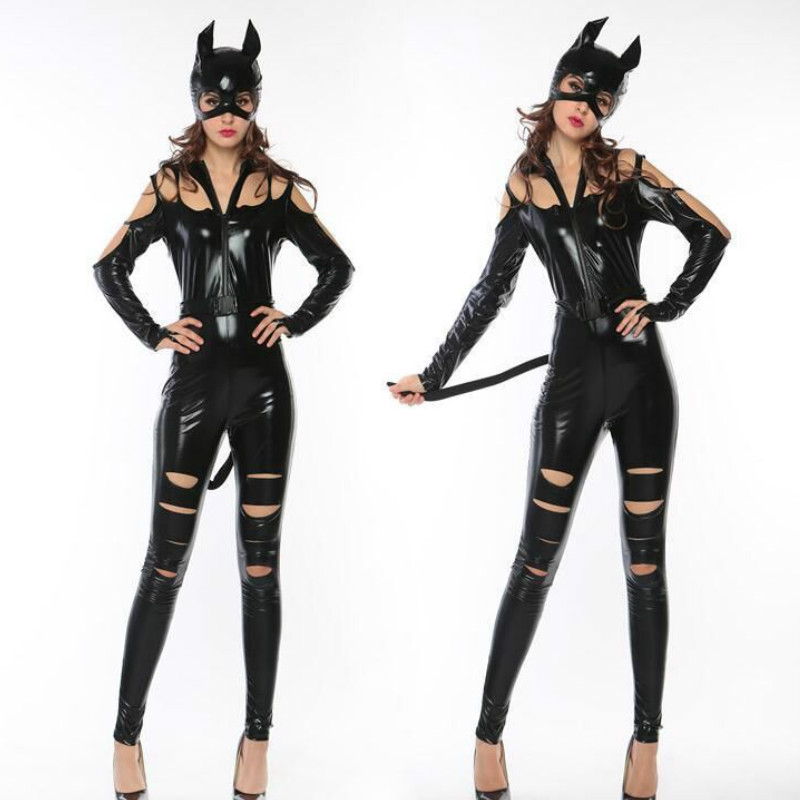 CFYH 2018 New Sexy Adult Girl Catwoman Costume Halloween Cosplay Lady Outfit