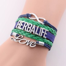 Best gift  infinity love Herbalife Bracelet charm leather wrap rope handmade bracelets bangles Custom made Drop Shipping