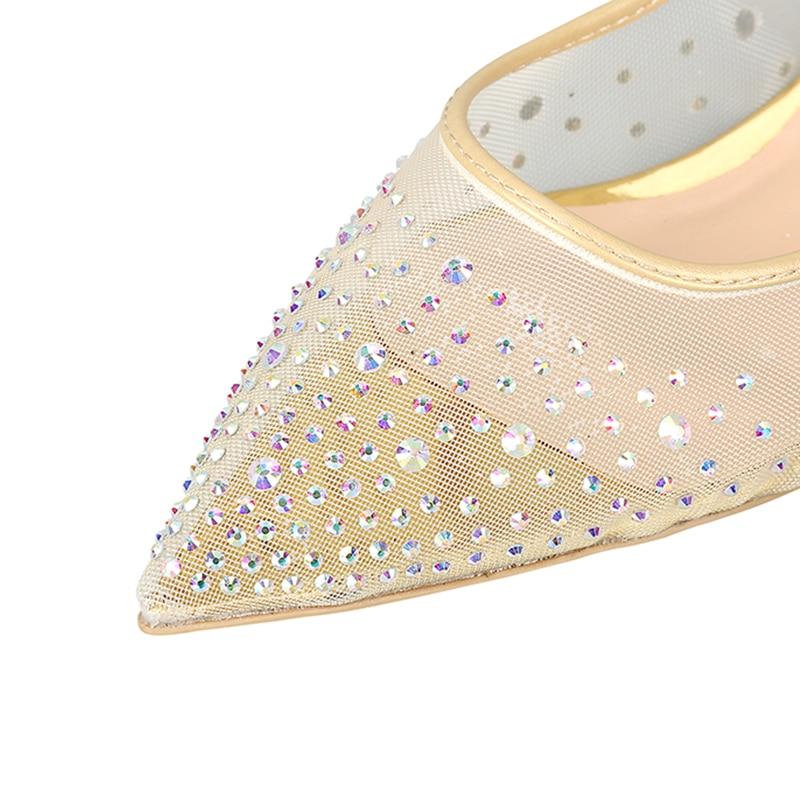 Black Aire Interior Zapatos Brillo Planas Bling Boda Mujeres Mujer Cuero Oveja Dulce Auténtico De transparent Tacones Rhinestone Piel Malla 5x7qwTpC