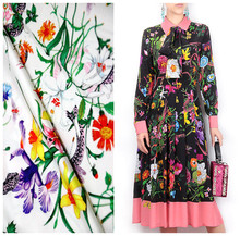 145cm printed fabrics Fashion Week catwalk fashion satin fabric handmade diy dress material wholesale cloth
