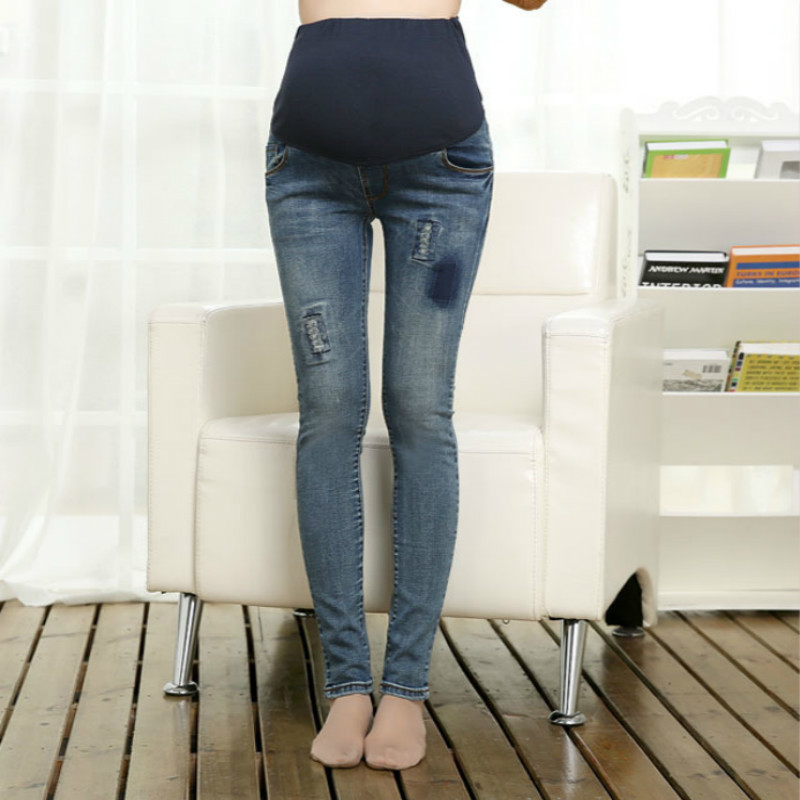 14c0287a1ad Maternity Fashion Hole Jeans Spring Plus Size Cotton Pregnant Clothing  Denim Pants Autumn Large Jeans Trouses