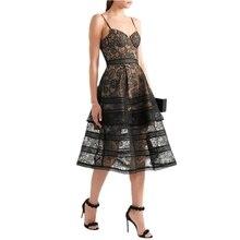 [NEW] 2017 Summer Dresses Women's Sexy Spaghetti Strap Lace Mid-Calf Dress Crochet V Neck Backless Self Portrait SP Dress Vestid