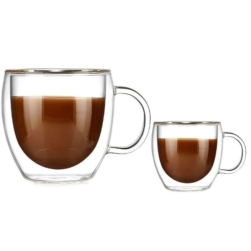 90ml 250ml Two size Double Wall Glass Cup With the Handle Coffee Mugs Kungfu Tea Cup Milk Juice Healthy Drink Mug|Mugs| |  - title=
