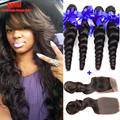 Brazilian Virgin Hair With Closure Loose Wave 3 Bundles With Closure Brazilian Loose Wave Top Lace Frontal Closure With Bundles