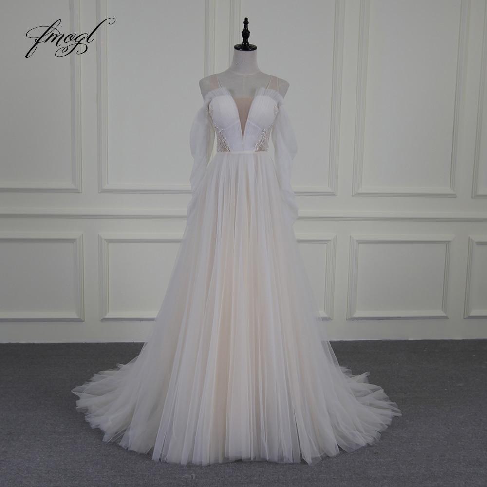 V Neck Beaded Wedding Gowns: Fmogl Vestido De Noiva Sexy Illusion Beach Wedding Dresses