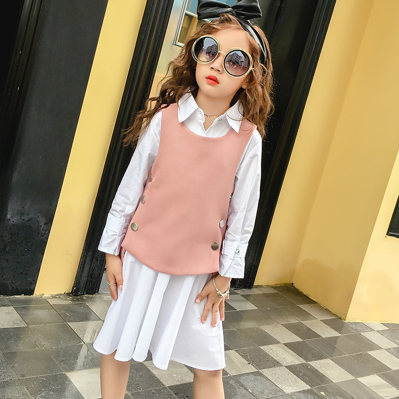 Child Suit Autumn New Product Girl Child Vest Two Pieces Dress Long Sleeve Shirt Kids Clothing Sets summer child suit new pattern girl korean salopettes twinset child fashion suit 2 pieces kids clothing sets suits