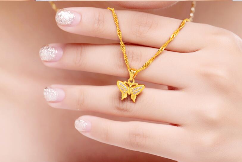 Valentine Jour de la nouvelle or de papillon pendentif collier modèles féminins contenant or Nouvel An cadeaux (A0430)