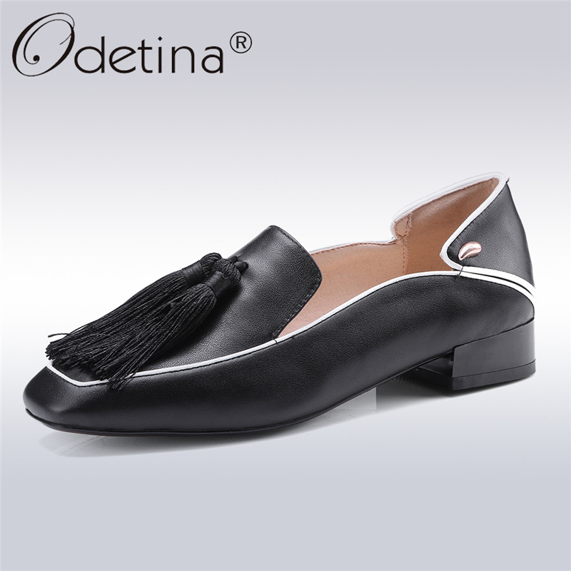 Odetina 2018 New Fashion Retro Women Genuine Leather Shoes Slip On Loafers Square Toe Chunky Heel Tassel Leisure Big Size 43 odetina 2017 new fashion genuine leather women rivet flats platform casual shoes lady slip on loafers round toe plus size 32 43