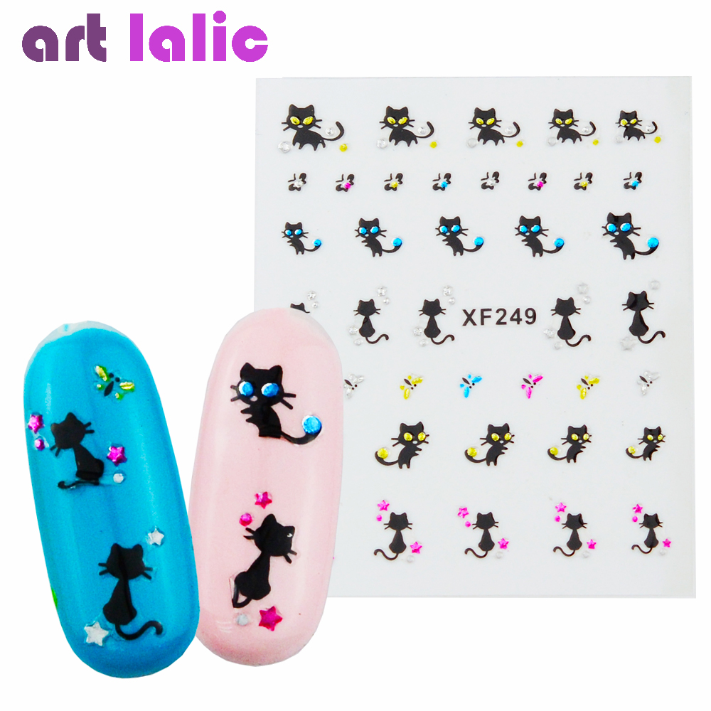 1sheets New Designs 3d Nail Art Stickers Fancy Lovely Cat Decals Decorations Stamping DIY Tips Manicure Beauty Tools XF249 2016 2sheets manicure tips beauty purples oil printing 3d diy designs nail art water transfer stickers decals full cover xf1405
