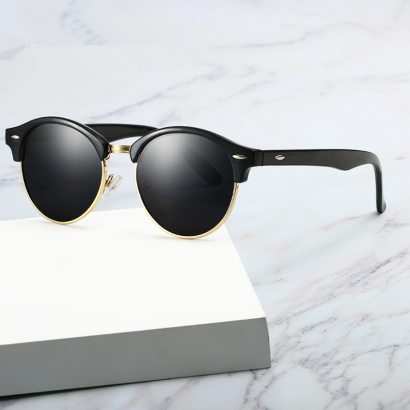 Men Sunglasses Half Frame Polarized Sun Metal Frame Fashion Brand Designer UV400