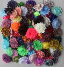 "Free USA ePacket/CPAP 100pcs Mix of 2.5"" chic chiffon shabby solid and print flowers for girls headbands,hair accessories"