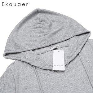 Image 5 - Ekouaer מזדמן כתונת לילה נשים ארוך שרוול הלבשת ברדס ארוך כותונת סתיו Sleepdress Loose מוצק הלבשת בגדי בית