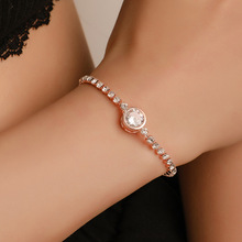 Simple Round Tennis Bracelet Women Fashion Rose Gold Sliver Charm Crystal Luxury Ladies Jewelry Gifts