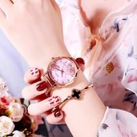 Rose Gold Women Wrist Watches Top Brand Luxury Ladies Stainless Steel Bracelet Watches Fashion Women Clock Relogio Feminio 2019