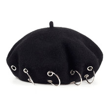47c85893a6361 2017 winter Hats new Harajuku Berets Darkness Gilr Punk Rock Style iron  rings beret Cap 17th-century Black Woolen Painter cap