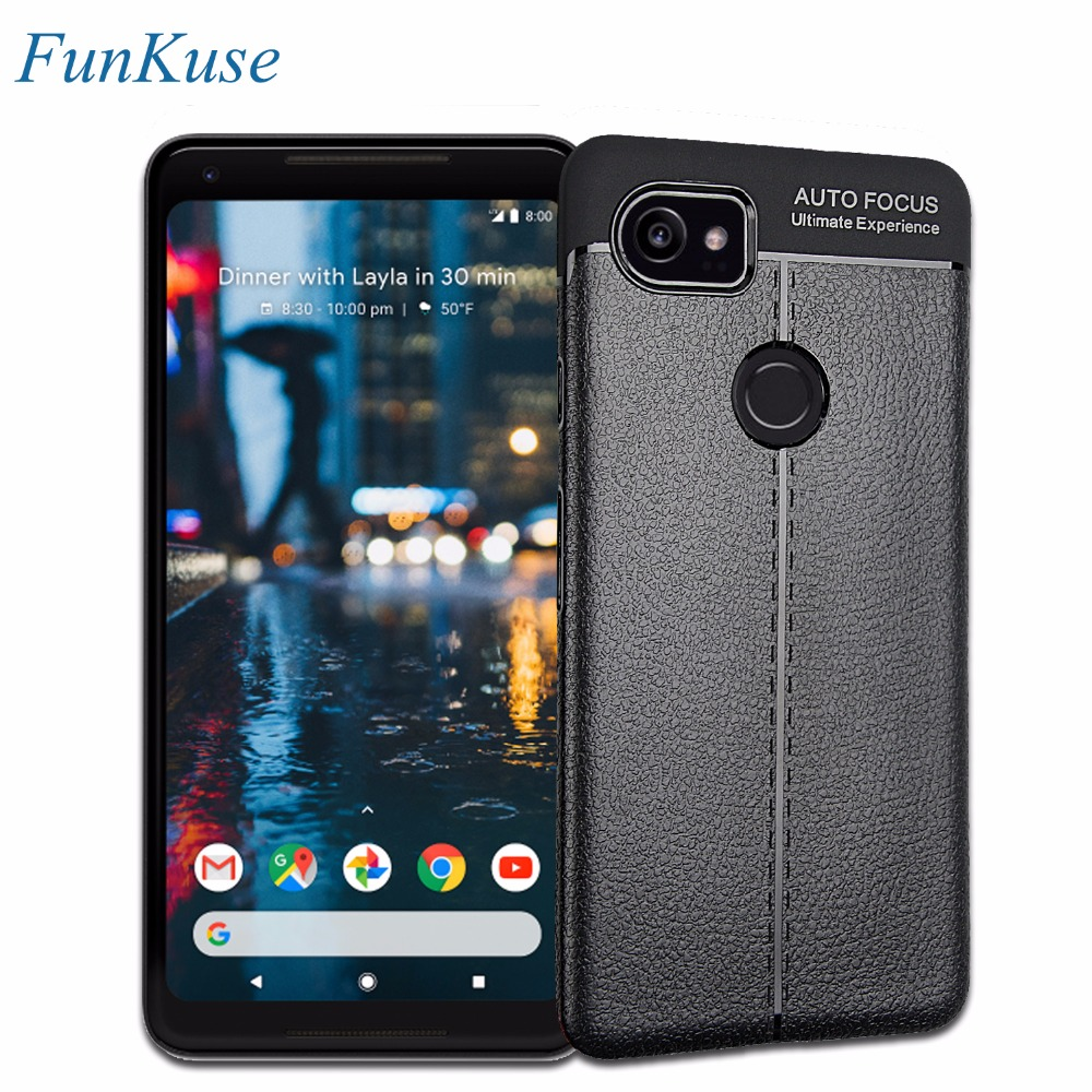 Capa for Google Pixel 2 XL Case FunKuse Litchi Pattern Luxury PU Leather Soft Silicone TPU Phone Back Bag Cover for Pixel 2 XL