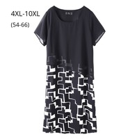 Plus Size 10XL 8XL 6XL Summer Women Dress Femme Elegand Black And Print Fabric Patchwork Clothing OL Slim Work Wearing Dresses