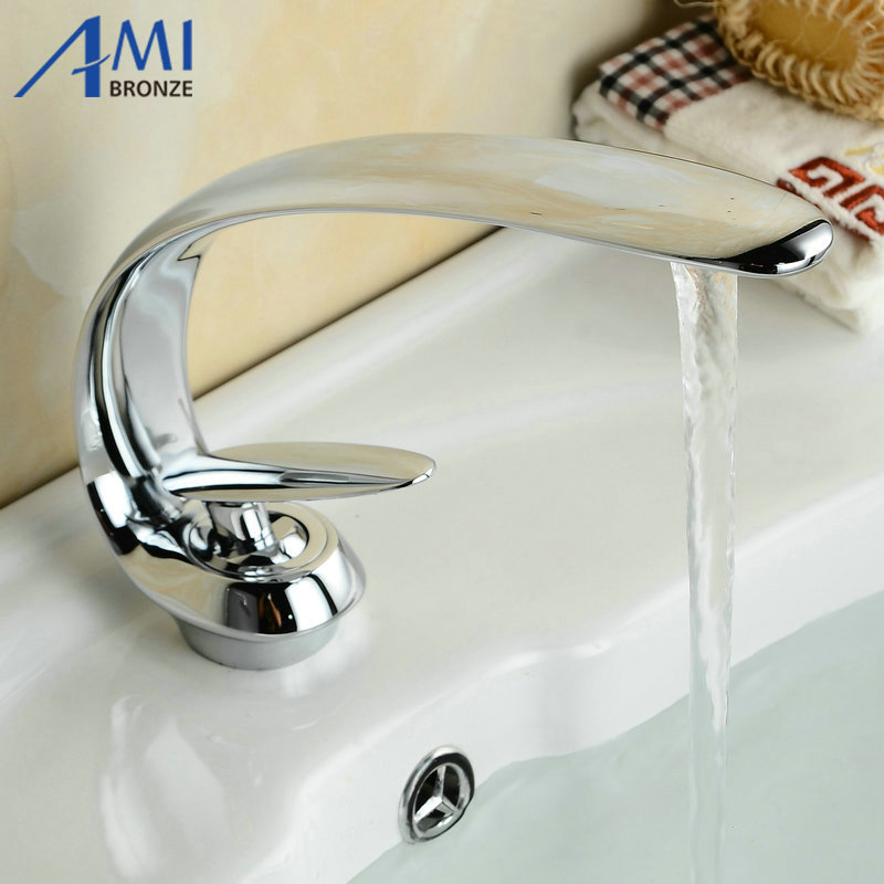 Bathroom Basin Faucet Waterfall Mixer Tap Sprayer Crane Chrome Polished Brass Faucets 6082C free shipping polished chrome finish new wall mounted waterfall bathroom bathtub handheld shower tap mixer faucet yt 5333