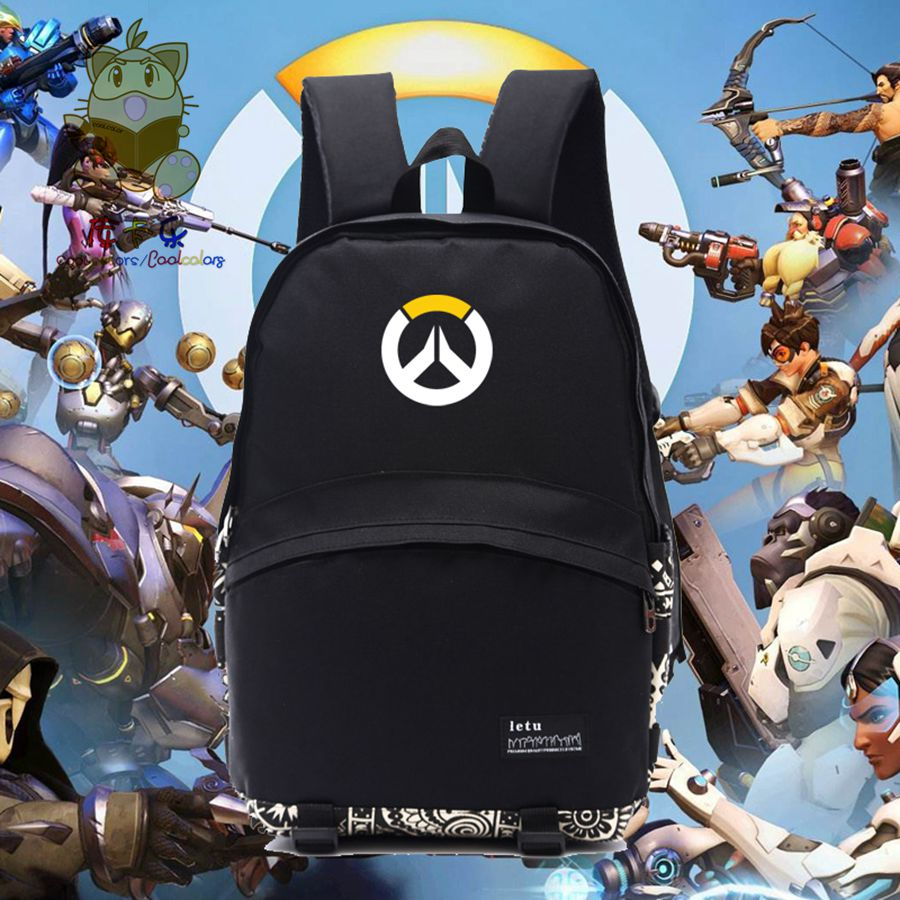 Game fans gift OW fans backpack OW logo printing black daily use backpack for student  for gamers for boyfriend gift NB001 vn in the summer of 2016 popular american tv drama aegis bureau agents luminous printing logo backpack trend a surprise gift