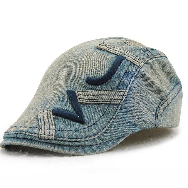 f118389feaefe 5 Colores sombrero De Verano Boina Carta Marca V J Algodón Caps Casual  hombres Boinas Cap Pareja